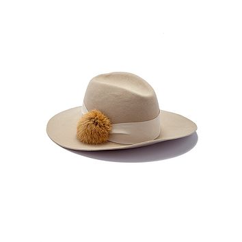 Cameron Wool Felt Hat With Fur Pom