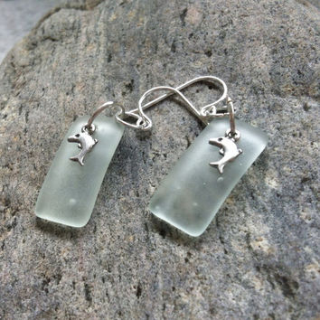 Cultured Sea Glass, Beach Glass, Coke Bottle, Glass Earrings, Sterling Dolphin, Sterling Silver Charm, Dolphin Charm,  Sterling Charm