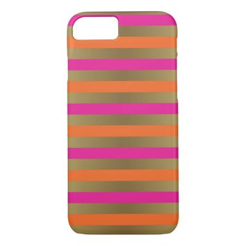 Pink, Orange & Faux Metallic Gold Stripes iPhone 7 Case