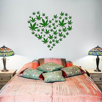 Wall Vinyl Weed Marihuana Love Heart Mural Vinyl Decal Z3385