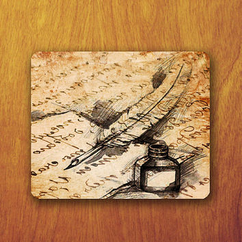 Feather Pencil Ink Writing Letter Mouse PAD Vintage Parchment Letter Mousepad Accessory For Desk Office Personalized Office Pad Boss Gift