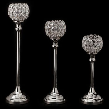 "Set of 3 Crystal Ball Candle Holders in Silver - 13.25-18.75"" Tall"