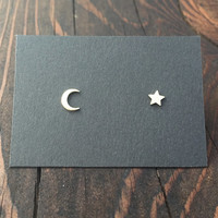 Tiny Crescent Moon and Star Stud Earrings in Silver with Sterling Silver Posts / Mix Matched Earring Set