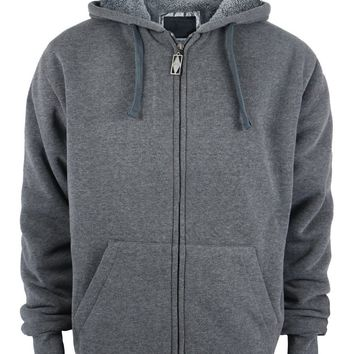 Boys Full Zip up Fleece Hoodie Sweatshirt - Dark Grey - CASE OF 12