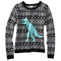 Xhilaration® Juniors Dinosaur Sweater - Black/White