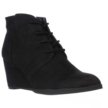 AR35 Baylie Lace Up Wedge Booties, Black, 10 US