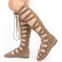 Beige Lace Up Gladiator Sandals Faux Suede