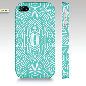 Hipster iPhone case, tribal iPhone 4 case, iPhone 5 case, fashion tribal aztec pattern design in mint aqua, trendy art for your phone