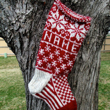 Holly Stocking - hand knit, custom name included, made to order