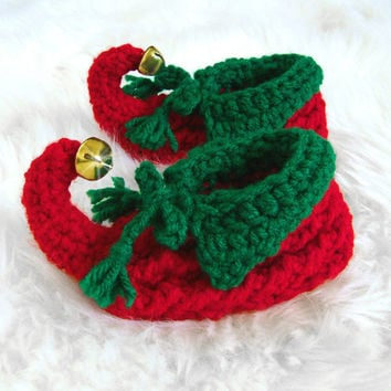 Baby Jingle Bell Elf Slippers, Baby Photo Prop Baby Slippers Elf Booties Red Green Jingle Bells, Children Slippers