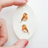 Hand drawn Robins. Bird Earrings. Cufflinks