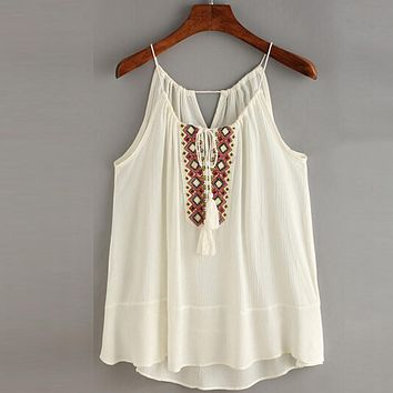 Tasselled Drawstring Neck Embroidered Cami Top Blouse Tank Shirts Boho Style New 2017  Cheap Clothes China