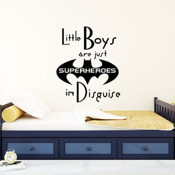 Little Boys Are Just Superheroes Wall Decals Quote Decal Kids Nursery Vinyl Stickers Home Bedroom Decor Playroom Art T48