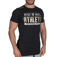 Round-neck Tops Gym Men's Fashion Sports Short Sleeve Cotton Print Stretch T-shirts [10657851971]