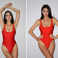 Vintage 80s One Piece Bathing Suit / Metallic Red Sexy Swimsuit / High Cut Leg, Low Cut / Baywatch Esque / Provocative Beachwear Resort