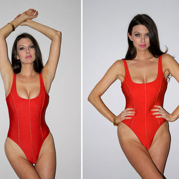 f85e5a799f54b Vintage 80s One Piece Bathing Suit   Metallic Red Sexy Swimsuit   High Cut  Leg