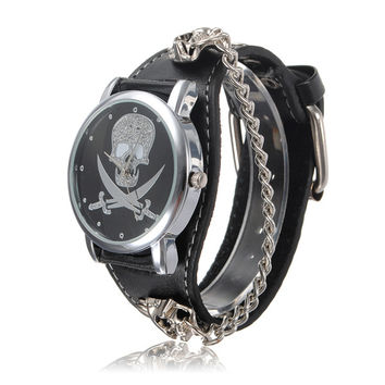 Skull Face Leather Rivet Bracelet Chain Watch