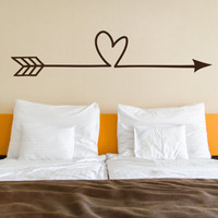 Heart Arrow, Love Vinyl Decal (Interior & Exterior Available) Indie / Boho Decor, Feather and Arrow, Tribal Design, Bedroom Wall Decor