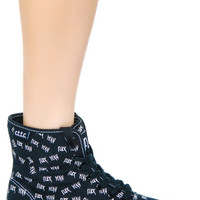 Cute to the Core Eff Yeah Hi Top Sneakers Black/White