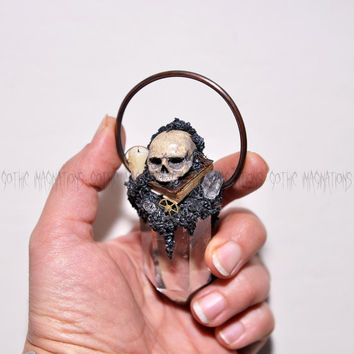 Steampunk Style Pendant, Realistic Hand Sulpted Skull, Handmade Old Book - Candle,  Clear Quartz Crystal Tower, Copper Ring