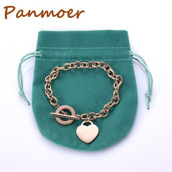 Heart Shaped Tiff Bracelet&Bangle Titanium steel charm Bracelet original logo OT bracelet all match Elegant Jewelry dustbag