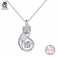 ORSA JEWELS Cute 925 Silver Fox Pedant Necklaces Insert 1ct Movable Charm Cubic Zirconia Sterling Silver Necklace Jewelry SN53