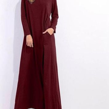 2017 Fall Winter Turtleneck, ankle length Maxi Dress comes in Blue, dark Gray, wine red and black.