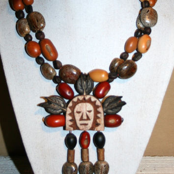 Primitive Carved Wood Pendant Native American Bead Necklace Tribal Jewelry African Jewelry Aztec Indian Chunky Statement Necklace Earth Tone