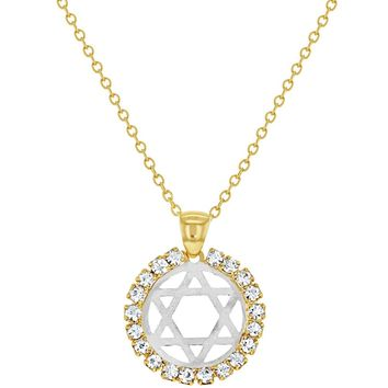 18k Gold Plated Judaism Star Of David Necklace Clear Crystal Medal Pendant 19""