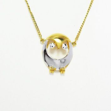 Owl Pendant Necklace, Signed Trifari, Two tone Gold and Silver, Wise Owl and Choker Length Chain, Vintage 1950's 1960's, Bird Jewelry
