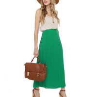 Cute Green Skirt - Maxi Skirt - Pleated Skirt - $39.00