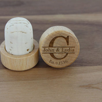 Personalized Wine Stoppers, Customized Engraved Monogrammed Wood Top Cork, Winter Wedding Favor or Gift, Unique Cool Wine Cork by Froolu