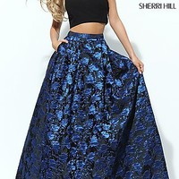 Off the Shoulder Print Two Piece Formal Dress
