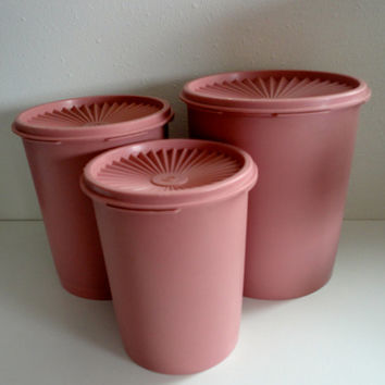 Vintage Tupperware Pink Storage Canisters Pretty in Pink For Your Retro Kitchen