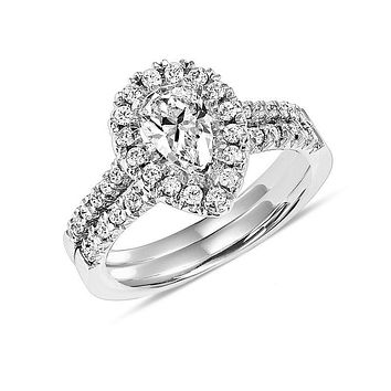 1.15 CT.  Pear-Shaped Diamond Frame Bridal Engagement Ring Set in 14K White Gold