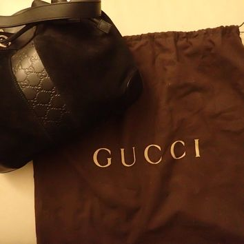 Gucci Women Black Suede Hobo Bag 272374 BRAND NEW Purse