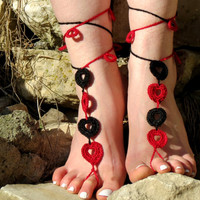 a Crochet Barefoot Sandals Heart, Red Black Nude shoes, Foot jewelry, Wedding, Sexy, Yoga, Anklet , Bellydance, Steampunk, Beach Pool