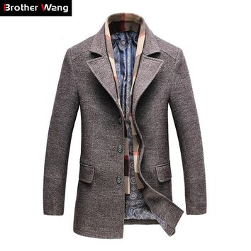 Winter Men's Casual Wool Trench Coat Fashion Business Long Thicken Slim Overcoat Jacket Male Peacoat Brand Clothes 1717