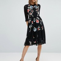ASOS PREMIUM Midi Skater Dress with Floral Embroidery at asos.com