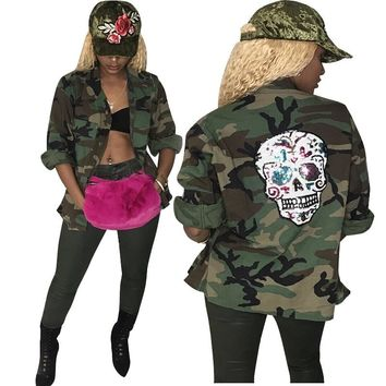 Women Sequins 3D Skulls Bomber Jacket Long Sleeve Turn-Down Collar Army Green