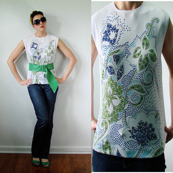VINTAGE 1960s Blue & Green Hippie Tank Top MOD Floral Sleeveless Blouse