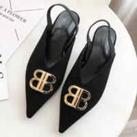 Balenciaga Fashionable Women Leisure Metal BB Buckle Pointed Shoes Single Shoes