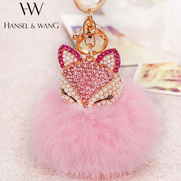 New Fashion Cute Fox Pompom Keychain Fur Pom Pom Keychain Car Bag Charm Fur Ball Key Chain Women Key Holder Ring Keychains QC23