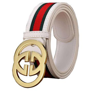 GUCCI 2 G Woman Fashion Smooth Buckle Belt Leather Belt-10