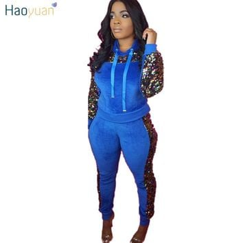 HAOYUAN Sequin Velvet Two Piece Set Women Outfits Velour Tracksuit Long Sleeve Hoodies Top+Pants Sweat Suit Sexy Matching Sets