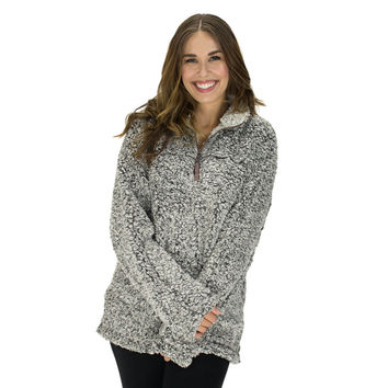 Frosty Tipped Pile 1/2 Zip Pullover in Charcoal by True Grit