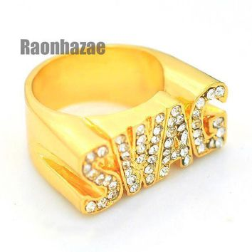 Hip Hop Fashion Iced Out Solid Chunky Swag Swagger Gold Plated Ring N001g