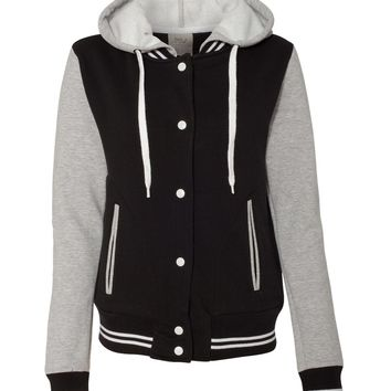 Top shop Black And Heather Ladies Varsity Sweatshirt From MV Sport - W2344 FREE SHIPPING at ebuybit