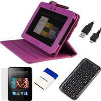 Evecase® 7 Items Essential Accessories Bundle kit for Amazon Kindle Fire HD 7 inch Tablet--Hot Pink Lizard Pattern 360 Degrees Rotating Leather Smart Cover Case included [Automatically Wakes and Puts your Tablet to Sleep]