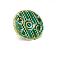 Handmade ceramic ring, green textured ring, emerald green, stoneware clay, clay jewelry, statement ring.  Adjustable ring. One of a kind